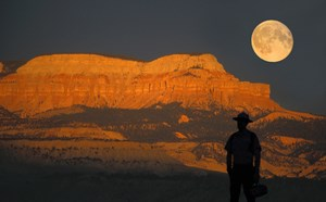 Ranger leads a full moon guided hike.