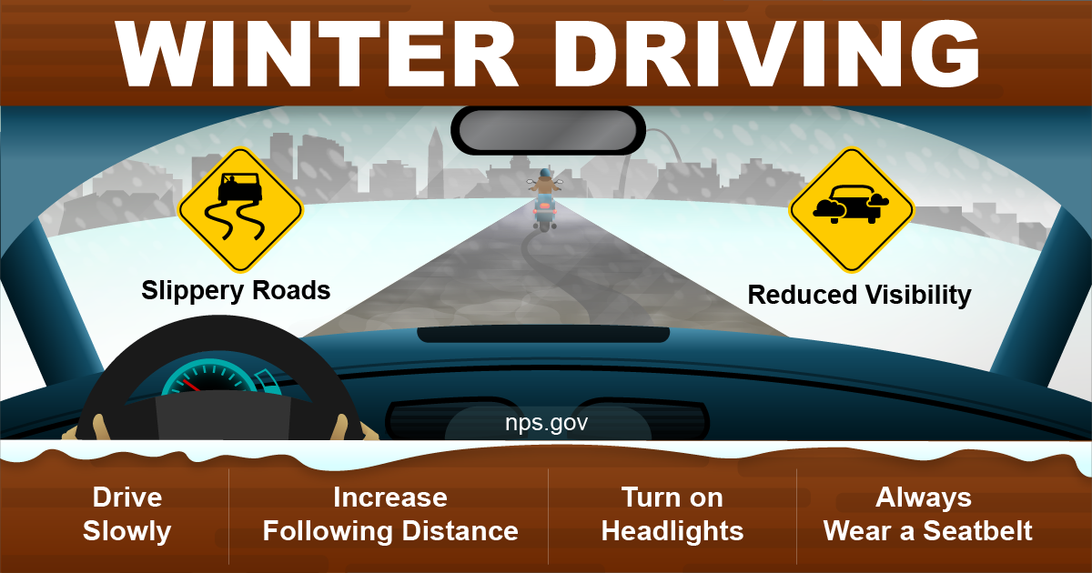 Winter Driving Safety Graphic, detailed alternative text on the webpage