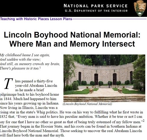 Example of the lesson plan for Lincoln Boyhood National Memorial
