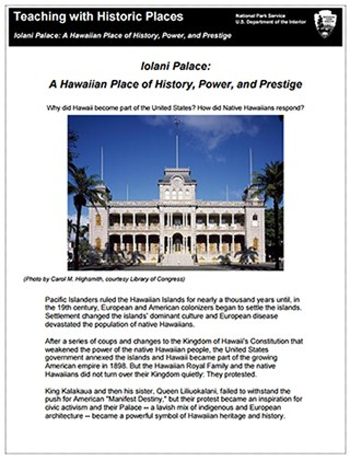 Iolani Palace NHL TwHP lesson plan