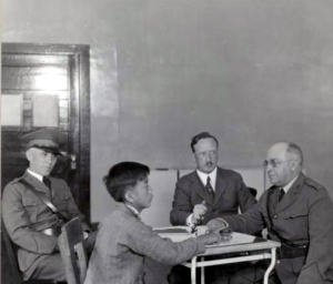 Immigration hearing at Angel Island, 1923