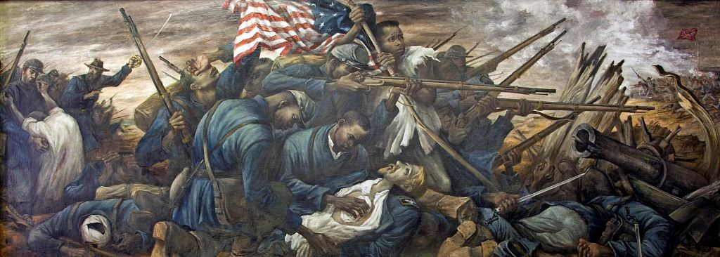 The 54th Massachusetts regiment with African American and white soldiers fighting at Fort Wagner, South Carolina.
