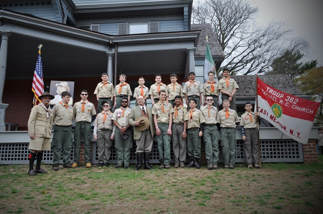 Boy Scouts celebrate National Park Week and the Centennial of the Theodore Roosevelt Council at Sagamore Hill NHS