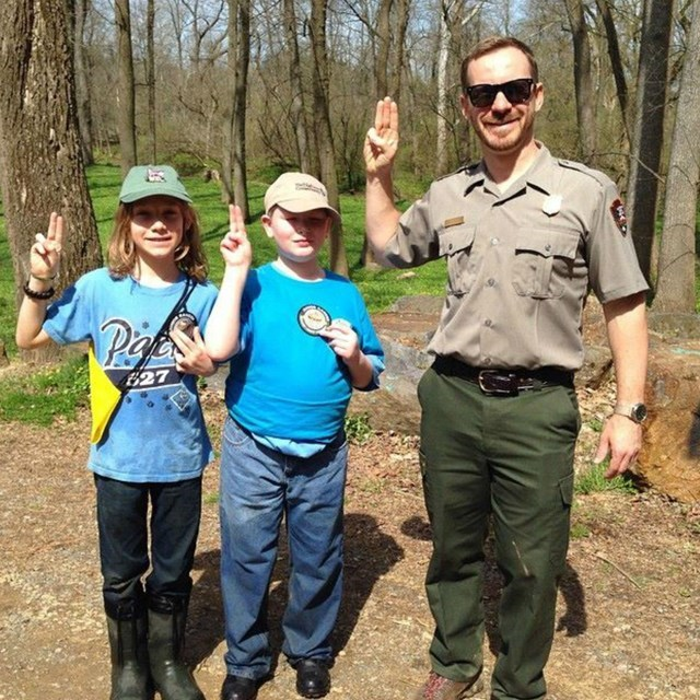 Boy Scouts with Park Ranger.