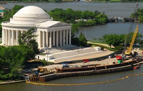 Jefferson memorial from the air with yellow construction crane and construction site out front