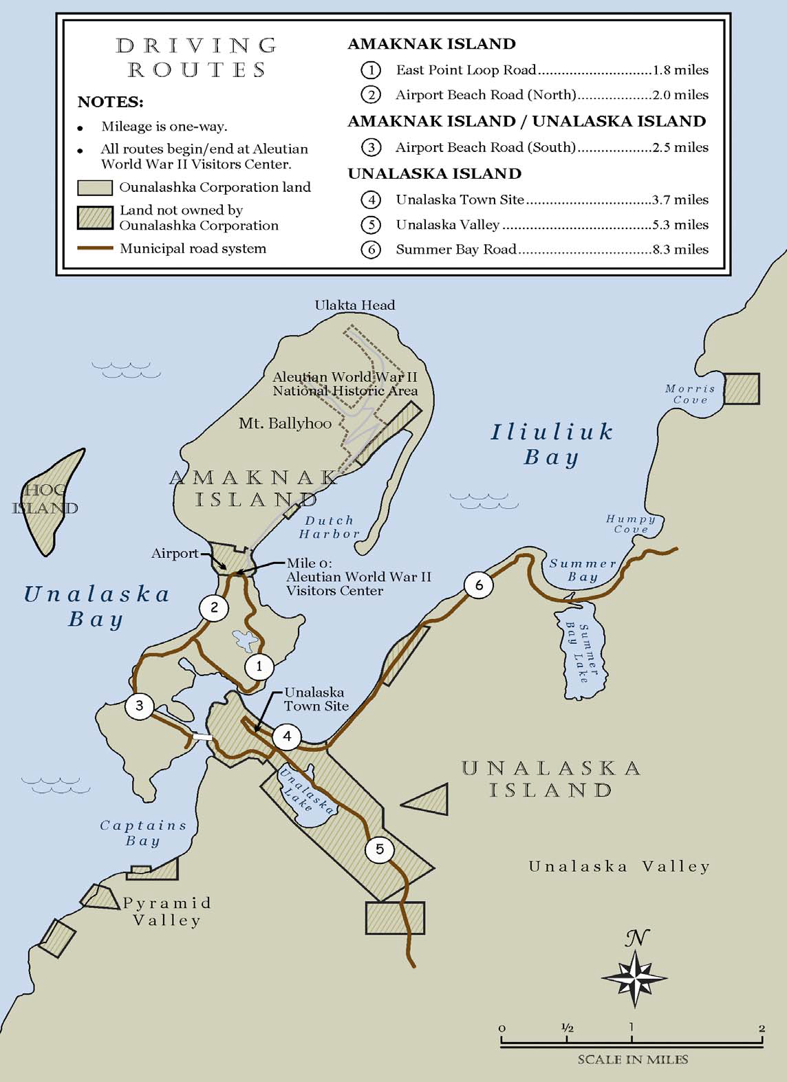 map of Unalaska island and Amaknak Island showing general location of 6 driving routes