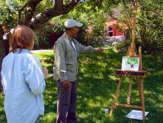 American Impressionist Master Artist and Instructor Dmitri Wright with Workshop Participant