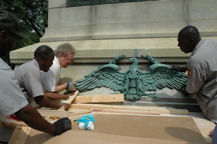 NPS Restores Eagle Sculpture to Sherman Statue