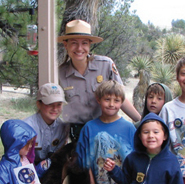 Ranger with children at Gila