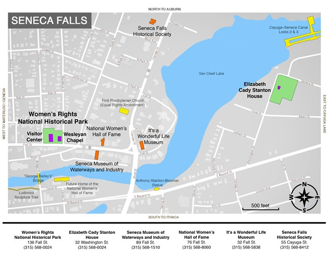 Map of Seneca Falls showing locations at Women's Rights National Historical Park and Seneca Falls
