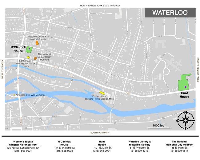 Map of Waterloo showing locations at Women's Rights National Historical Park and Waterloo