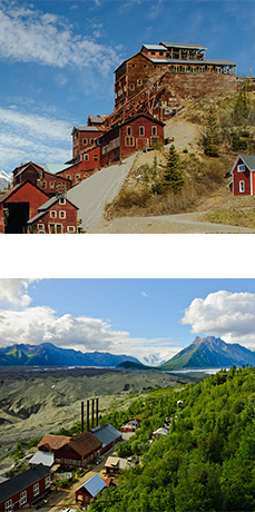 One image of historic, wood Kennecott Mill Building. One image of historic buildings, forest, glaciers, and mountains.