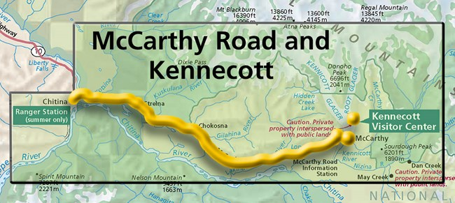 Map showing Kennecott and McCarthy Road Area.