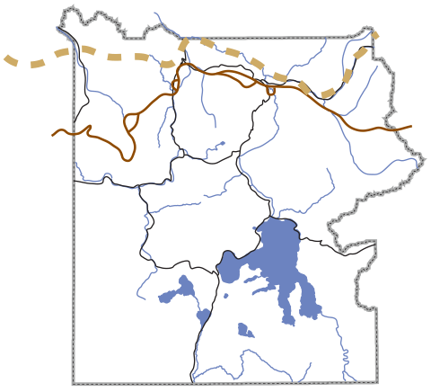 A map of Yellowstone and its major roads, rivers, and lakes, with two locations for the Bannock Trail
