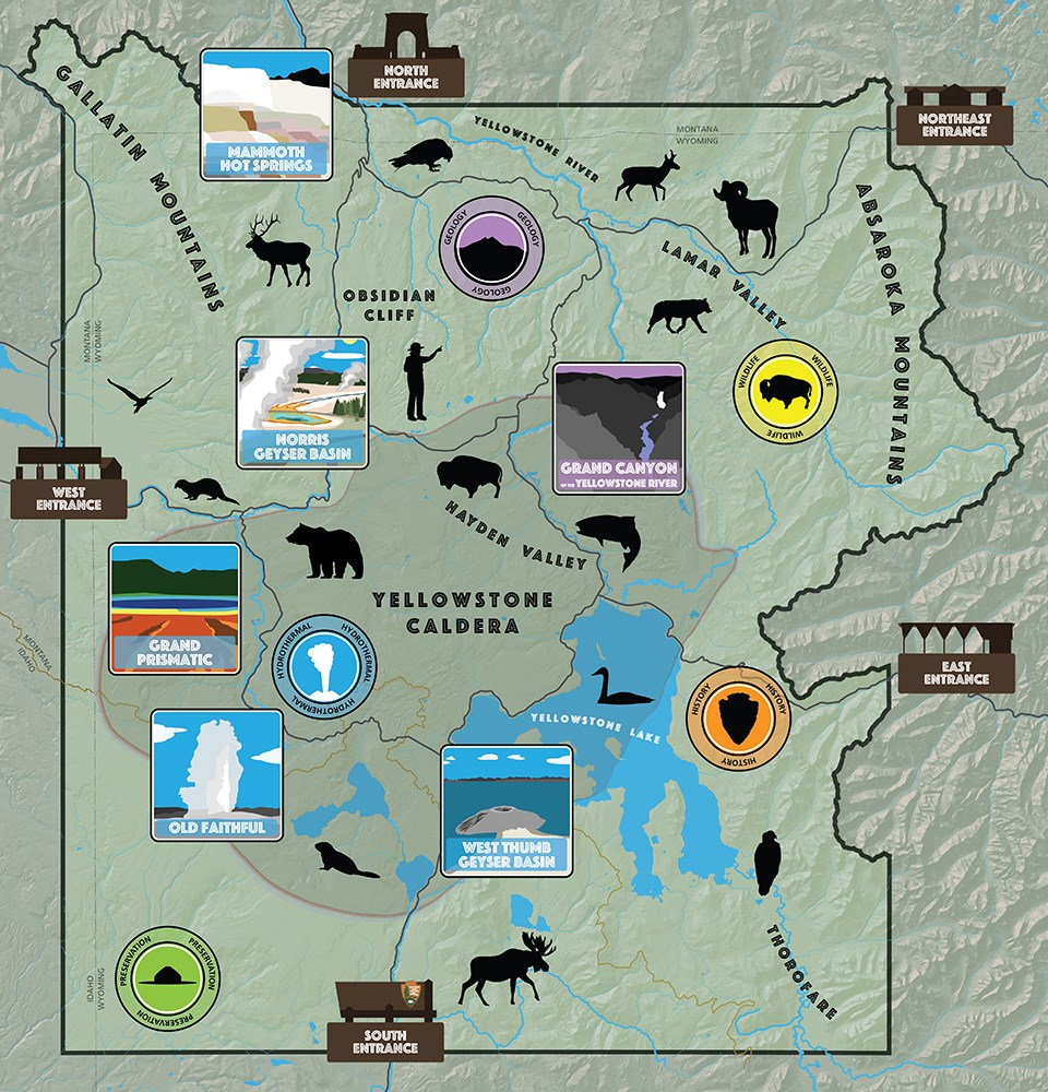 Map of Yellowstone with various animal silhouettes and location illustrations decorating the map