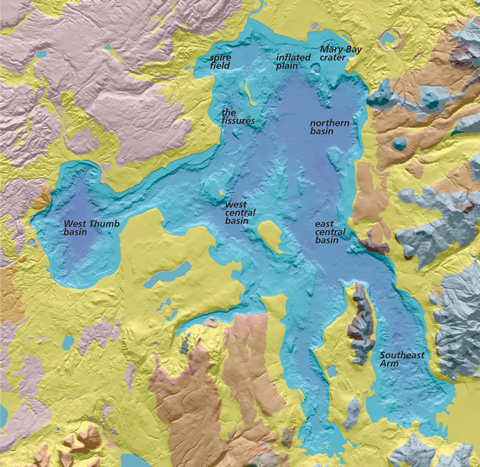 Yellowstone Lake Geology Yellowstone National Park US - Yellowstone us map