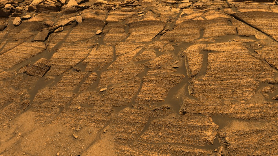 Mars' Burns Cliff view of rock layers.
