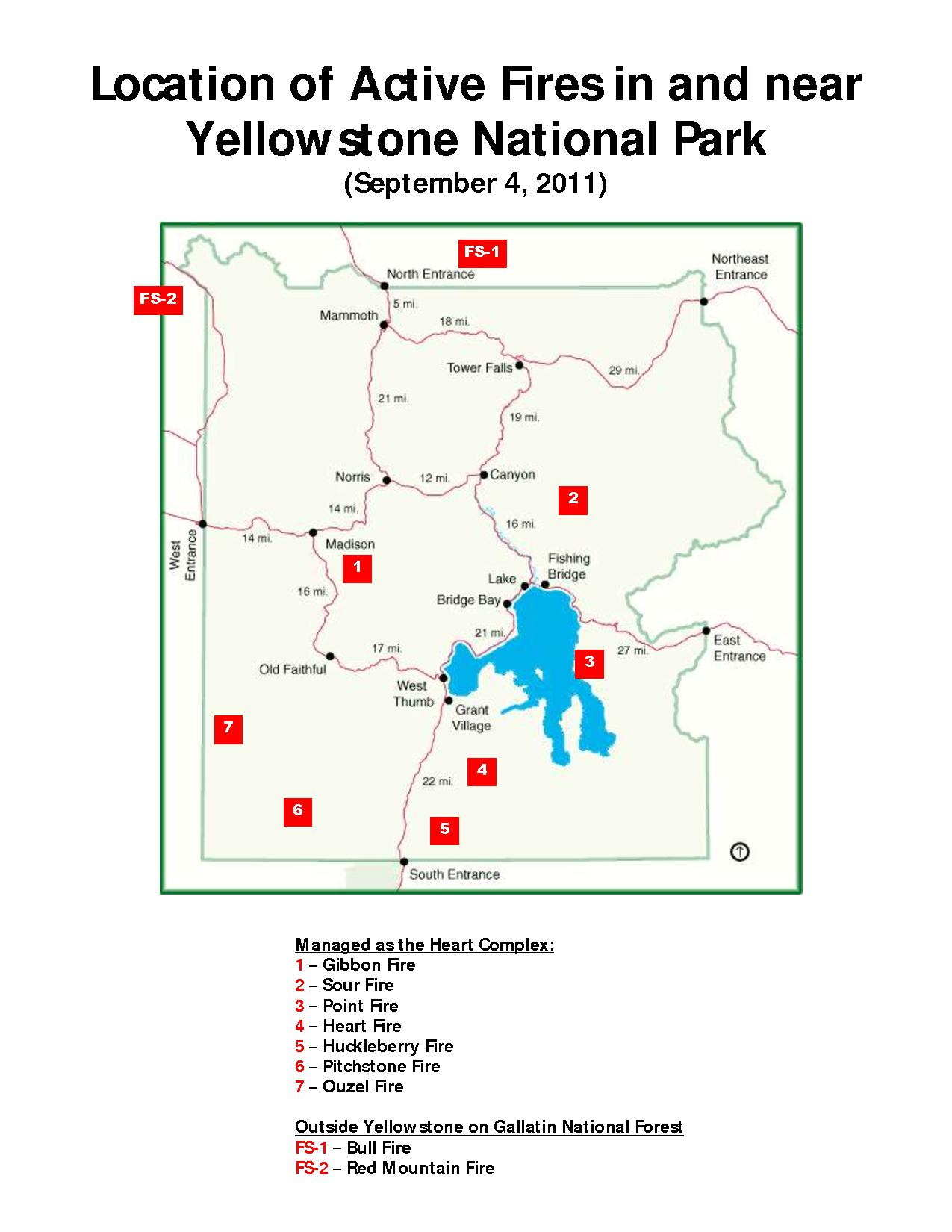 Map of Yellowstone National Park showing fires actively burning in and near the park