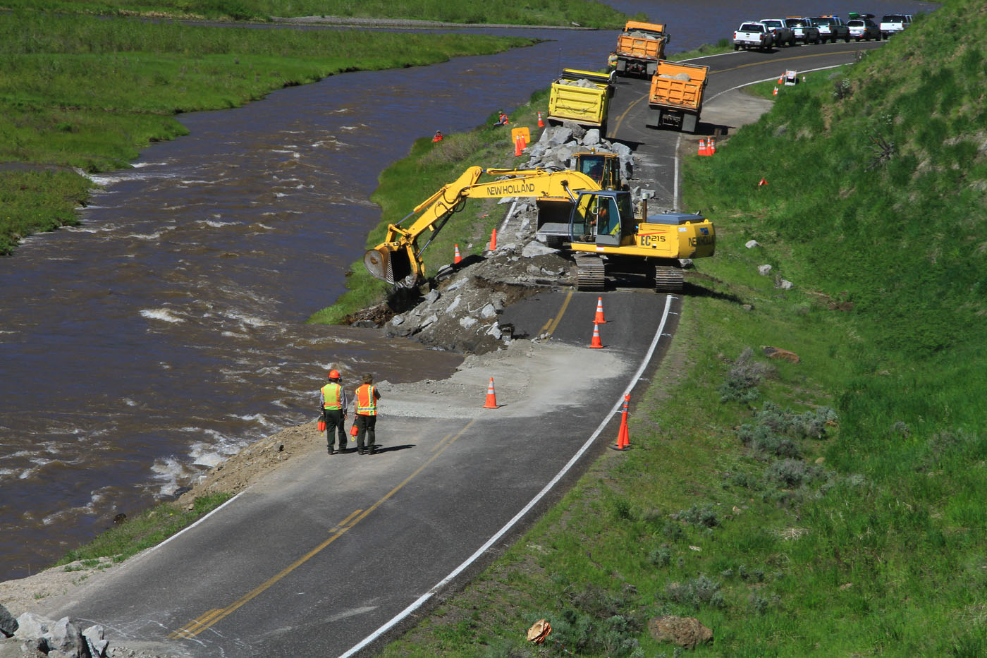Equipment working on Lamar Valley road washout