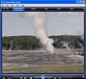 video webcam image of Old Faithful Geyser erupting