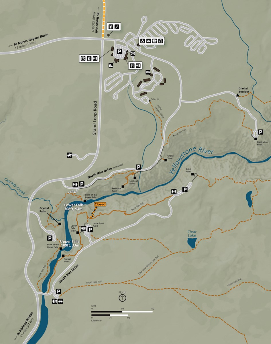 Map showing the closures, trails, and roads around the Grand Canyon.