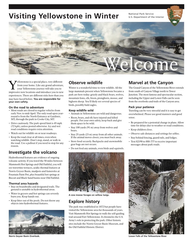 Cover page of the visitor guide with a winter scene and text about the park.