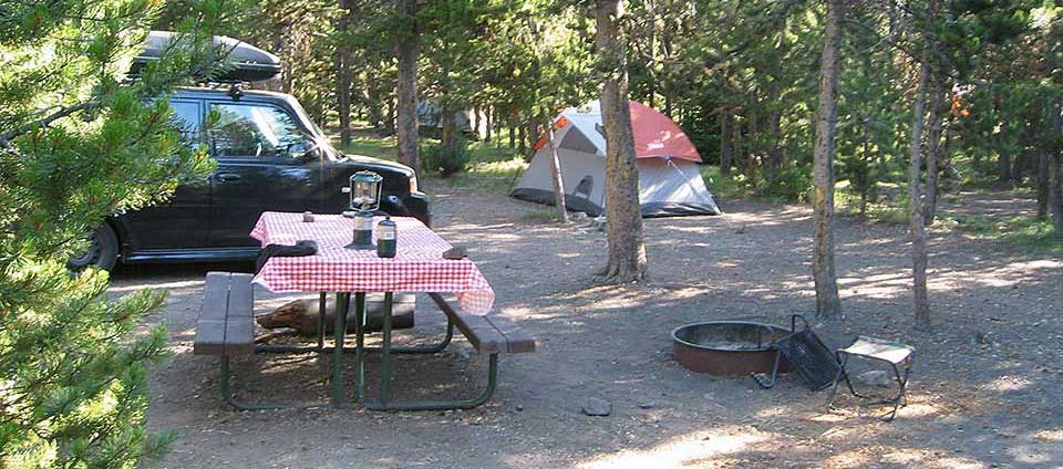 Campsite with car and picnic table