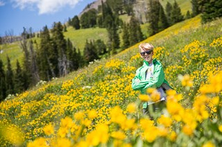 Person standing on a wildflower-covered slope.
