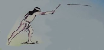 Person throwing spear using atlatl