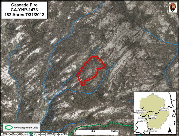 Aerial photo showing extent of Cascade Fire
