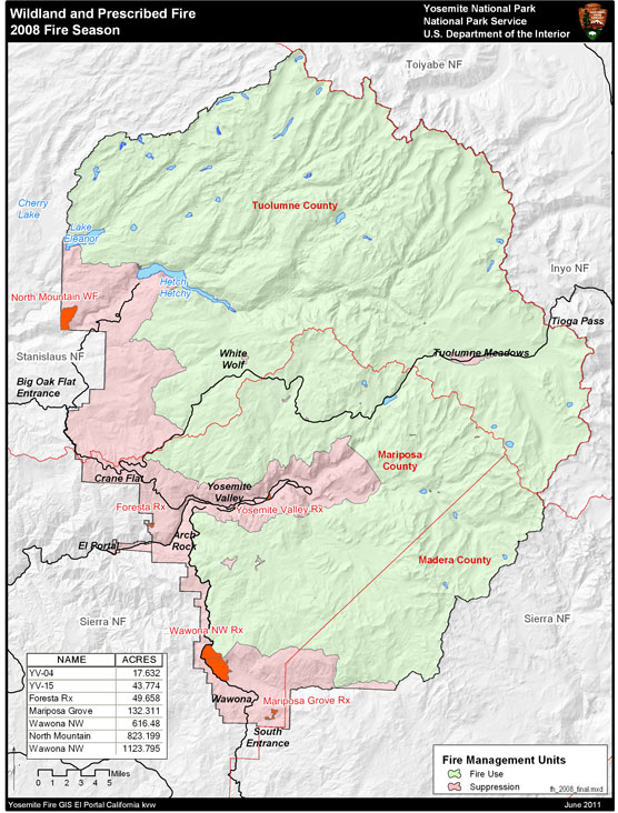 Yosemite boundary map with major fires marked on map