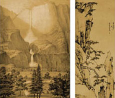 Historic Yosemite photo, left, and Chinese ink drawing, right