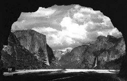 View of Tunnel View Overlook as shaped from inside the tunnel