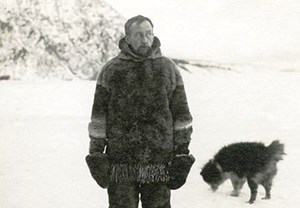 Roald Amundsen on the Yukon River in front of Eagle Bluff