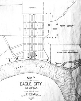 Townsite plat map of Eagle City, 1899.