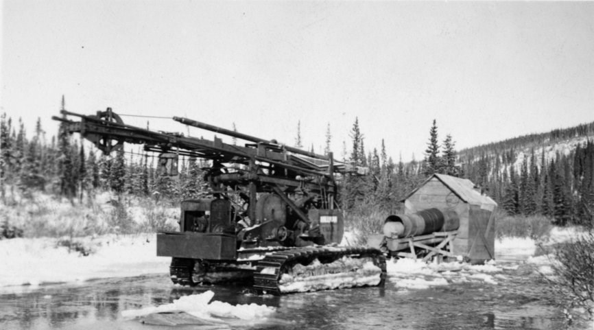 """The Prospector"" drilling rig from Coal Creek, circa 1930s."