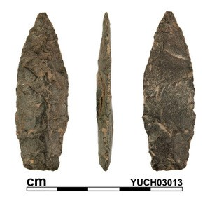 A 4000 year old stone projectile point collected from test excavations at Slaven's Roadhouse on the Yukon River.