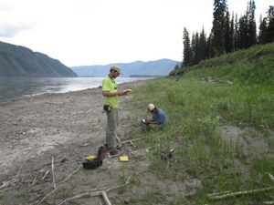 Staff archaeologists recording data at the Charley's Village site in 2010.