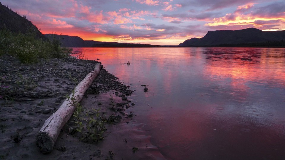Red sunset on the Yukon River