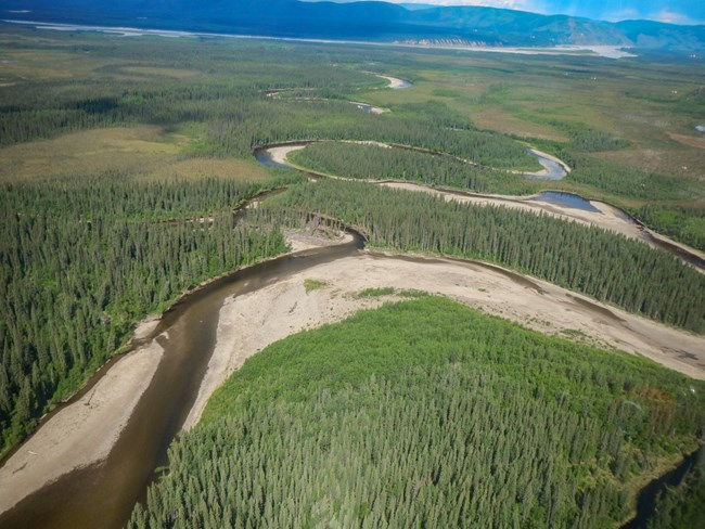 Aerial photo of a channel change on the Charley River, looking downstream towards the Yukon River in the distance